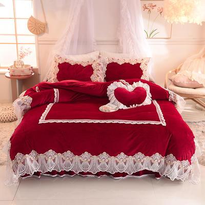 2019新款水晶绒四件套-织女 1.2m床裙款三件套 酒红