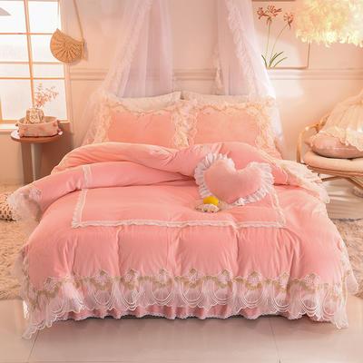 2019新款水晶绒四件套-织女 1.2m床裙款三件套 玉色