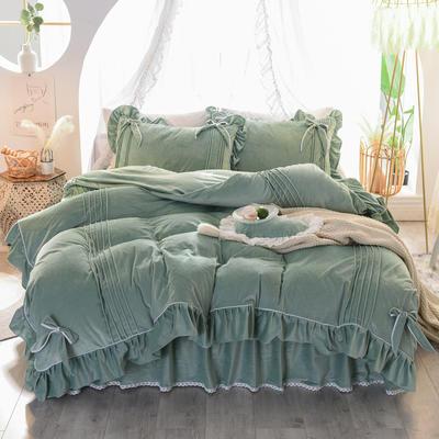 2019新款水晶绒四件套-蝶恋 1.2m床裙款三件套 墨绿