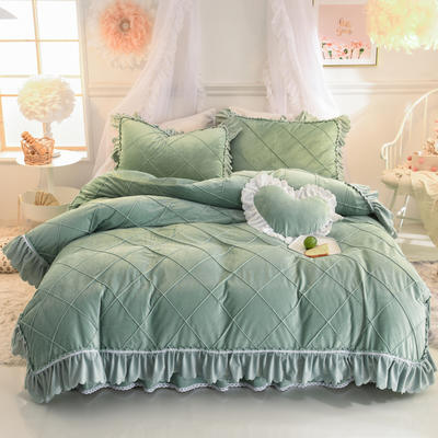 2019新款水晶绒四件套-格格 1.2m床裙款三件套 墨绿