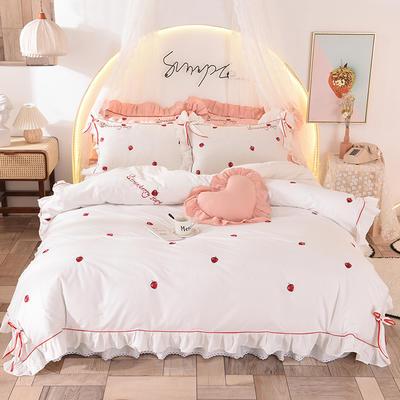 2020新款全棉活性13372四件套-草莓 1.5m床裙款 草莓-白色