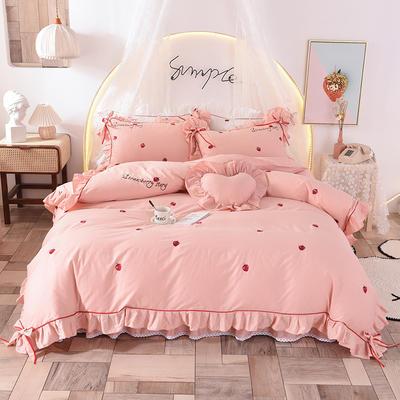 2020新款全棉活性13372四件套-草莓 1.5m床裙款 草莓-玉色