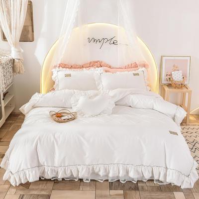 2020新款全棉韩版床裙淑女公主四件套-密格 1.5m床裙款 半格子白色