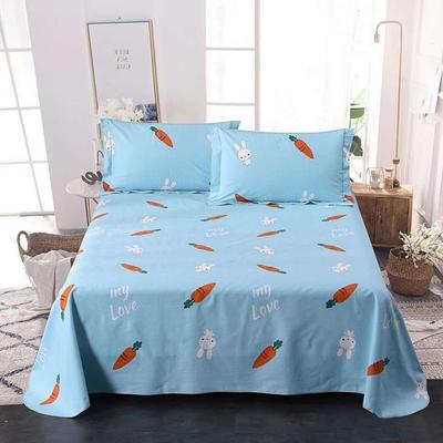 新款全棉细纱老粗布三件套粗布缎各类单品全尺寸一字绣带包装 枕套一对(带一字绣花) 萝卜兔-蓝