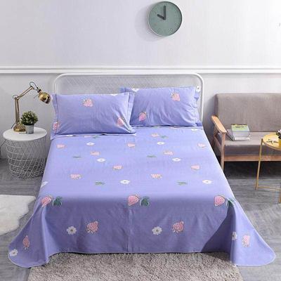 2019新款全棉老粗布空调软凉席三件套250X250床单带包装 1.8m 莓香清清-紫