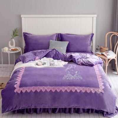 2019新款加厚水晶绒刺绣工艺款四件套法莱绒宝宝绒牛奶绒 1.8m(6英尺)床 倾国倾城-鸢尾紫