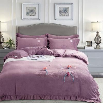 2019新款秋冬牛奶绒立体刺绣工艺款四件套 1.8m(6英尺)床 暗香-丁香紫