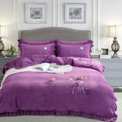 2019新款秋冬牛奶绒立体刺绣工艺款四件套 1.8m(6英尺)床 暗香-魅力紫