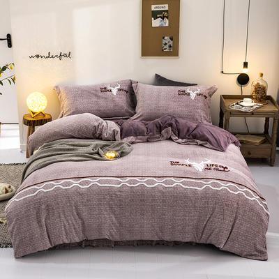 2019秋冬超柔牛奶绒肌理纹毛巾绣工艺款四件套宝宝绒 1.8m(6英尺)床裙款 麋鹿森林-紫