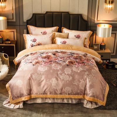 2019新款欧式美宝宝绒四件套 单被套1.8m(6英尺)床 清甜花间-咖啡