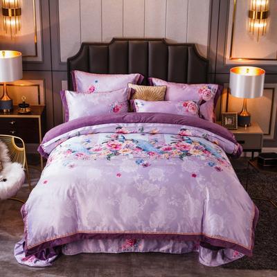 2019新款欧式美宝宝绒四件套 单被套1.8m(6英尺)床 延禧攻略-贵妃紫
