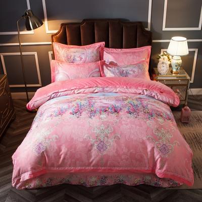 2019新款欧式美宝宝绒四件套 单被套1.8m(6英尺)床 安妮花园-粉红