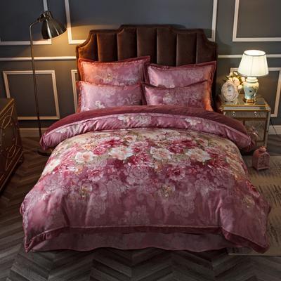2019新款欧式美宝宝绒四件套 单被套1.8m(6英尺)床 花约佳人-紫红