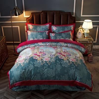 2019新款欧式美宝宝绒四件套 单被套1.8m(6英尺)床 安妮花园-天蓝