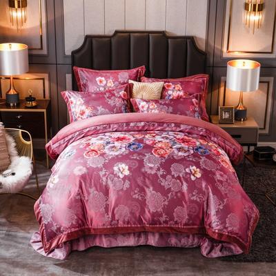 2019新款欧式美宝宝绒四件套 单被套1.8m(6英尺)床 清风怡然-酒红