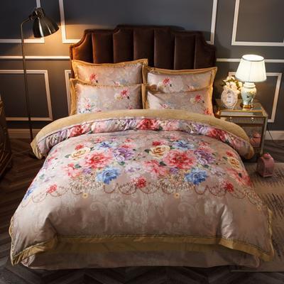 2019新款欧式美宝宝绒四件套 单被套1.8m(6英尺)床 岁月如歌-香槟色