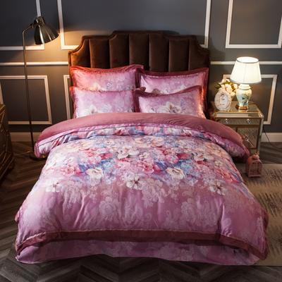 2019新款欧式美宝宝绒四件套 单被套1.8m(6英尺)床 雾里看花-紫红
