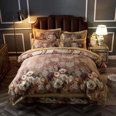 2019新款欧式美宝宝绒四件套 单被套1.8m(6英尺)床 绚烂花开-棕红