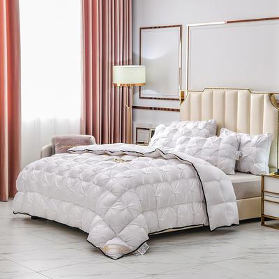 2020新款全棉织带特色扭花羽绒被冬被重量可定制 160x210cm  5.2斤 白