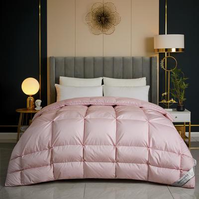 2020新款100支柔赛不规则面包鹅绒被冬被被子被芯 200x230cm95白鸭绒  5斤 粉色