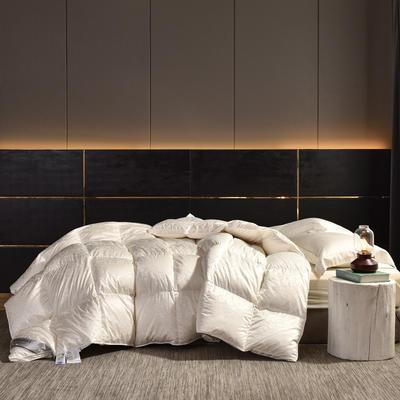 2020新款仿真丝大提花鹅绒被冬被被子被芯 200x230cm95白鸭绒  5斤 白