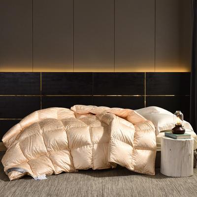 2020新款仿真丝大提花鹅绒被冬被被子被芯 200x230cm95白鸭绒  5斤 金