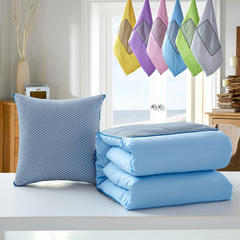 博顺抱枕被  冰麻系列抱枕被 小号 透气冰麻蓝色