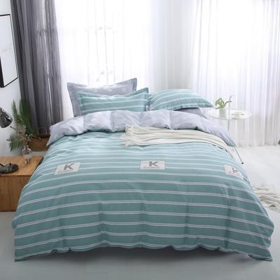 2019新款AB版花型全棉四件套 1.0m床 时尚风范-绿