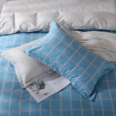 2019新款AB版花型全棉枕套 48cmX74cm/一对 都市格调-蓝