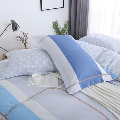 2019新款AB版花型全棉枕套 48cmX74cm/一对 都市摩卡-兰