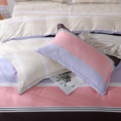 2019新款AB版花型全棉枕套 48cmX74cm/一对 马德里-咖