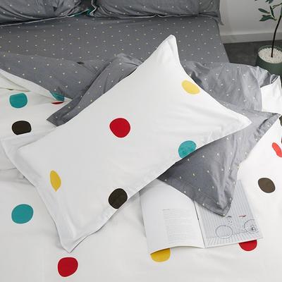 2019新款AB版花型全棉枕套 48cmX74cm/一对 七彩点点