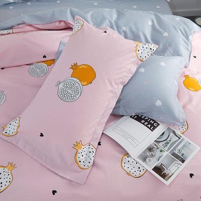 2019新款AB版花型全棉枕套 48cmX74cm/一对 石榴语