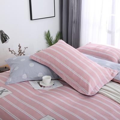 2019新款AB版花型全棉枕套 48cmX74cm/一对 时尚风范-红