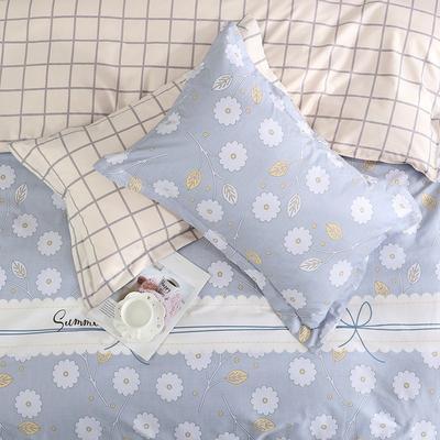 2019新款AB版花型全棉枕套 48cmX74cm/一对 长相依-蓝