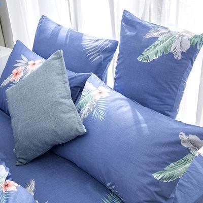 2019新款全棉-单枕套 48cmX74cm一对 热带雨林-蓝