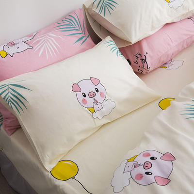 2019新款全棉-单枕套 48cmX74cm一对 猪小妹