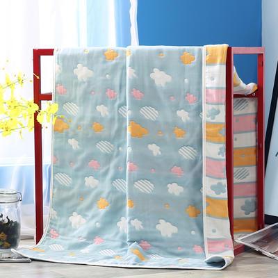 2019新款六层纱布浴巾-80*160cm/条 3彩云蓝