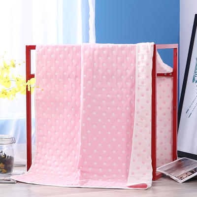 2019新款六层纱布浴巾-80*160cm/条 5波点粉