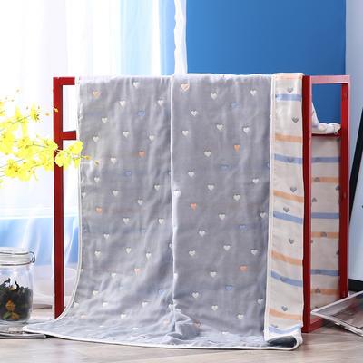 2019新款六层纱布浴巾-80*160cm/条 6桃心灰