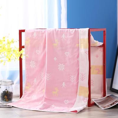 2019新款六层纱布浴巾-80*160cm/条 7小鹿粉