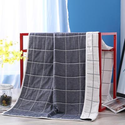2019新款六层纱布浴巾-80*160cm/条 12虚线格蓝