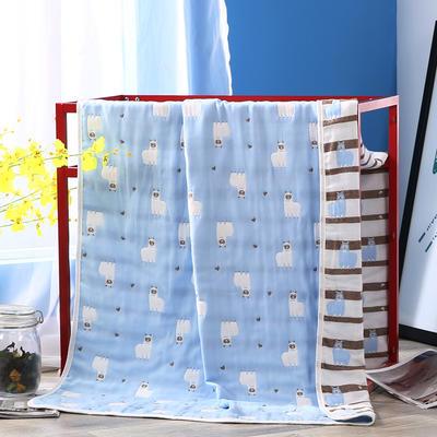 2019新款六层纱布浴巾-80*160cm/条 14羊驼蓝