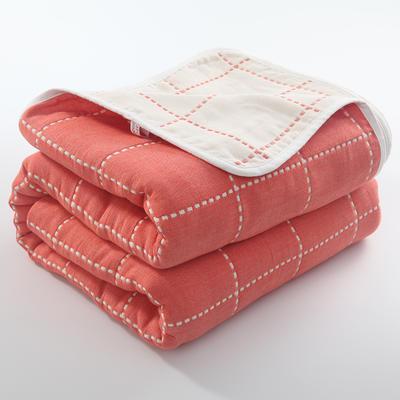 2019新款六层纱布毛巾被 120*150 cm 虚线格桔