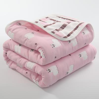 2019新款六层纱布毛巾被 90*100cm 羊驼粉