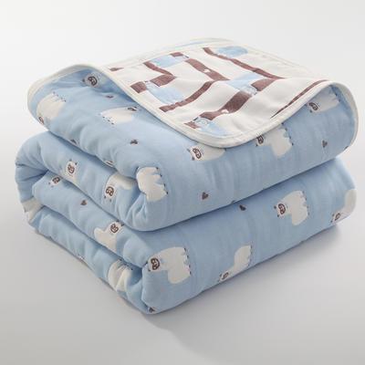 2019新款六层纱布毛巾被 90*100cm 羊驼蓝