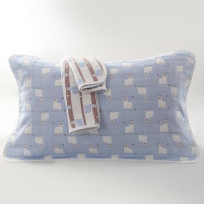 2019新款六层纱布枕巾-50*80cm/对 羊驼蓝