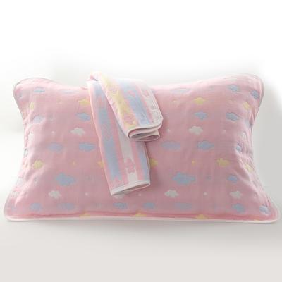 2019新款六层纱布枕巾-50*80cm/对 彩云粉