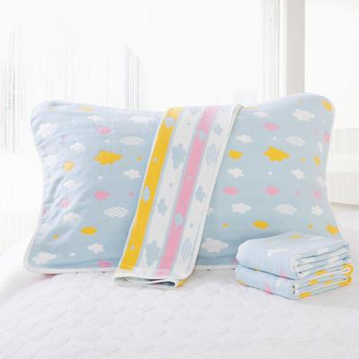 2019新款六层纱布枕巾-50*80cm/对 彩云蓝