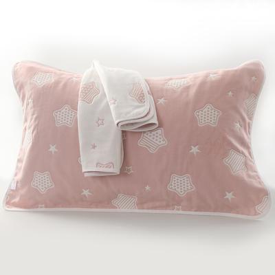 2019新款六层纱布枕巾-50*80cm/对 星星粉色